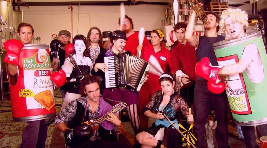 Asheville Vaudeville, a troupe of wildly dressed musicians and performers, in Craggie Brewery