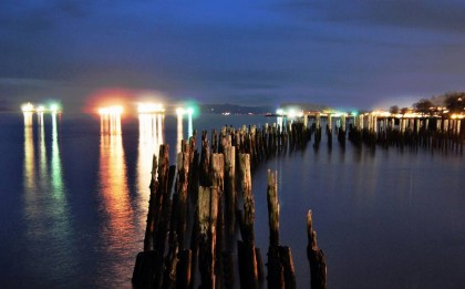 log mooring poles in the Columbia River, lights shine from nearby Astoria