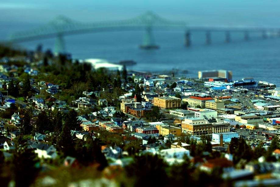 view of Astoria Oregon, including the Astoria-Megler Bridge and Columbia River