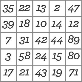 a bingo board