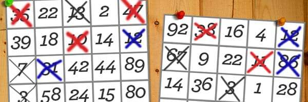 two campsite bingo boards partially completed hanging from a wall of an RV