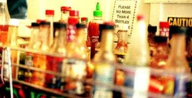 an assortment of hot sauce bottles
