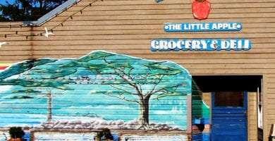 the storefront of the Manzanita Grocery and Deli, a mural of a rocky beach with trees painted on the otherwise gray wooden siding, benches and flower pots out front, a blue door