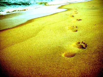 footsteps in the sand which probably aren't Jesus' considering he's not real