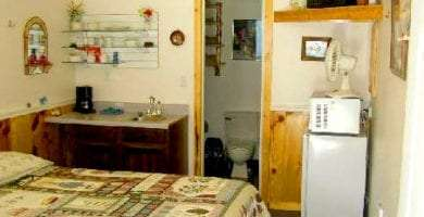 a small room with a comfortable bed, microwave, TV, sink, fridge and bathroom