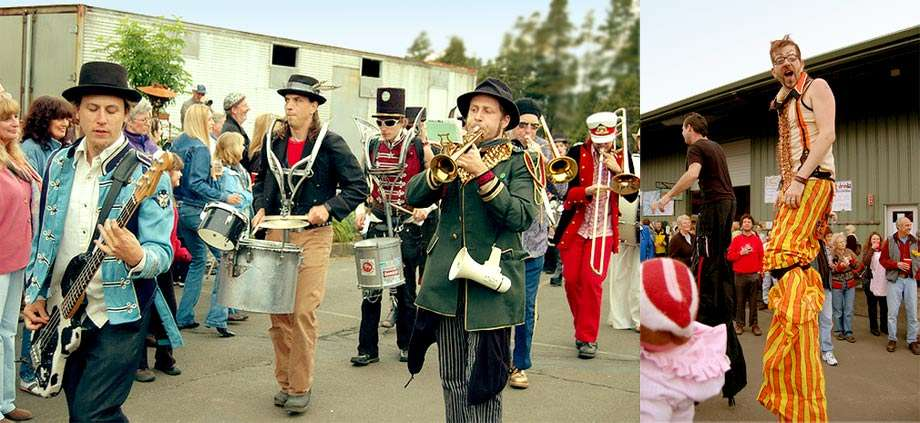 Two photos, one of a marching band and one of men on stilts