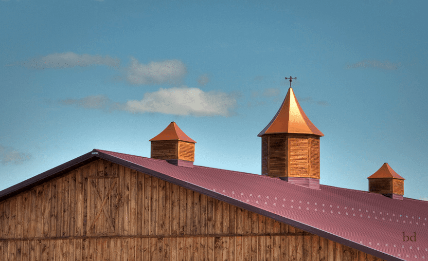 the magenta and copper rooftop of a barn