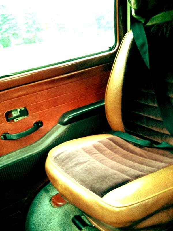 the front passenger seat of a volkswagen bus