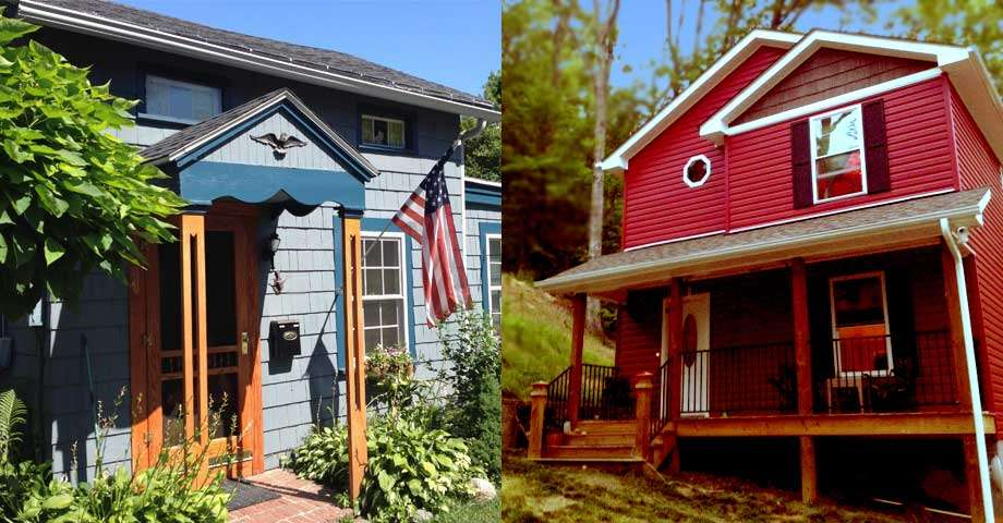 half the image is of a small blue house with an American flag on the front stoop, the other half a two story red house in the forest