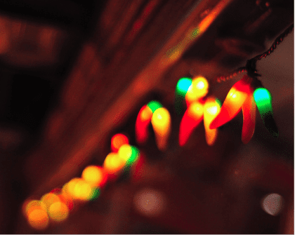 blurred photo of chili pepper shaped Christmas lights