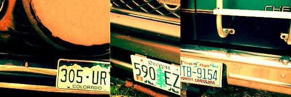 a photo of three different license plates from three different states on three different vehicles