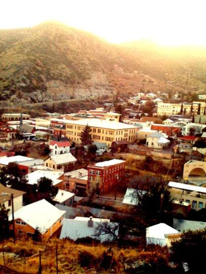 looking down on the rooftops of Bisbee from a mountain trail