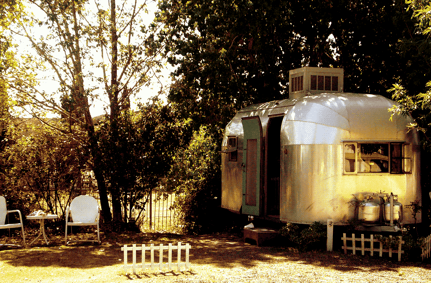 A small Airstream, now used as a sort of hotel room, parked at the Shady Dell RV Park in Bisbee, Arizona