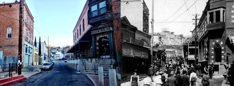 Two photographs of Bisbee's brewery gulch, the left as it is in 2012, the right from some time in the early 1900s. Both are very similar as far as building structures go.