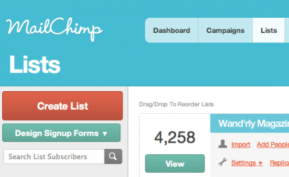 screenshot example of where to click in Mailchimp to create a new list