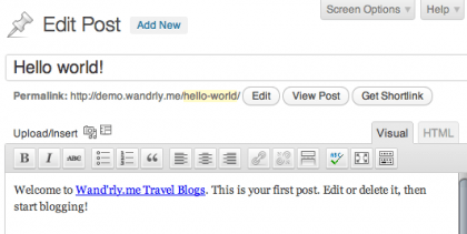 screenshot of part of the Edit Post page, showing the content editor