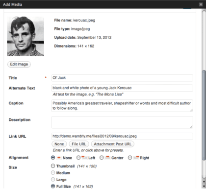 screenshot of the WordPress image uploader in action