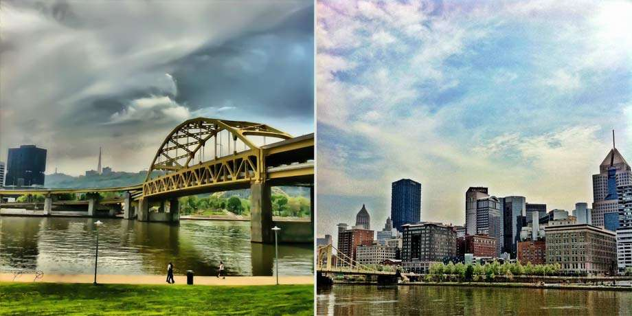 views from Pittsburgh's riverwalk, left a yellow bridge spans a wide river, a skyscraper in the background, bike racks and people walking a trail in front. Right the city's skyline and river.