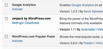 partial screenshot of Plugins page, showing an Activated plugin and two inactive plugins