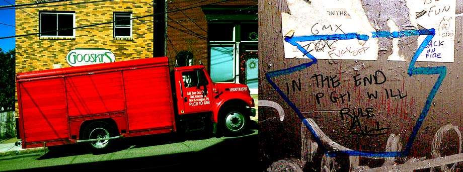 two photos, one of a large red delivery truck parked at a steep angle in front of Gooskis bar, the second of graffiti that reads In the End Pittsburgh will Rule All from Gooskis mens room