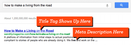 a screenshot illustrating where in a search result on Google the Title Tag and Meta Description appear