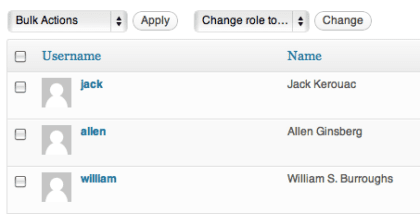 partial screenshot of WordPress users page, showing three users, Jack, Allen and William