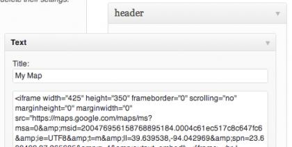 partial screenshot of Widgets WordPress admin screen