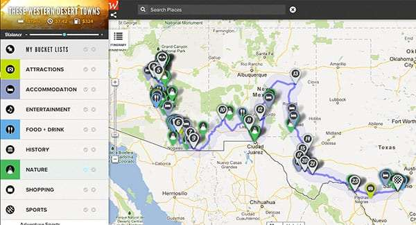 a screenshot of the roadtrippers.com app, showing a route from San Antonio to the Grand Canyon with lots of things to see along the way
