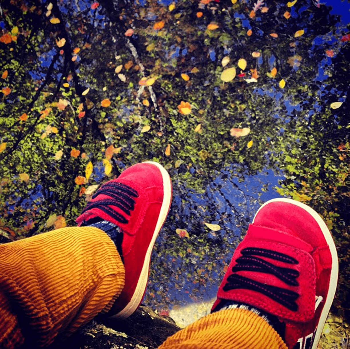 a pair of red shoes dangling over a lake