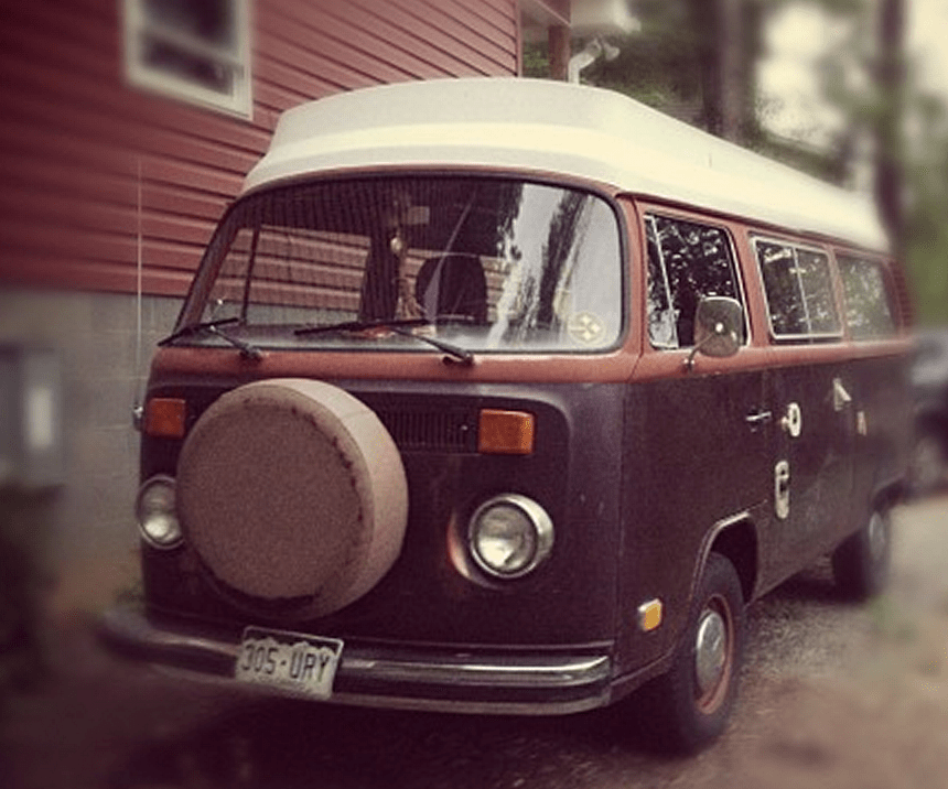 a brown and red volkswagen bus