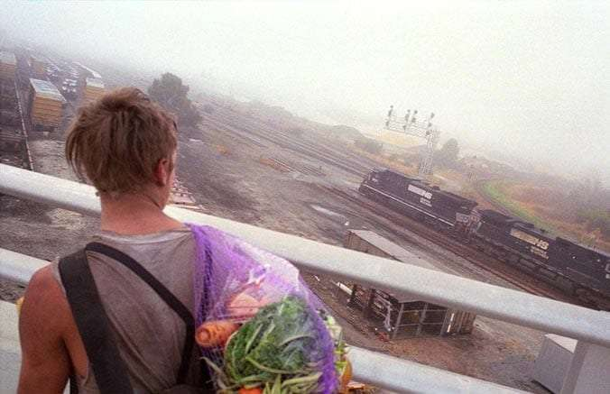 a young train hopper on a bridge looking over a train yard