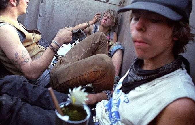 young people in a train car