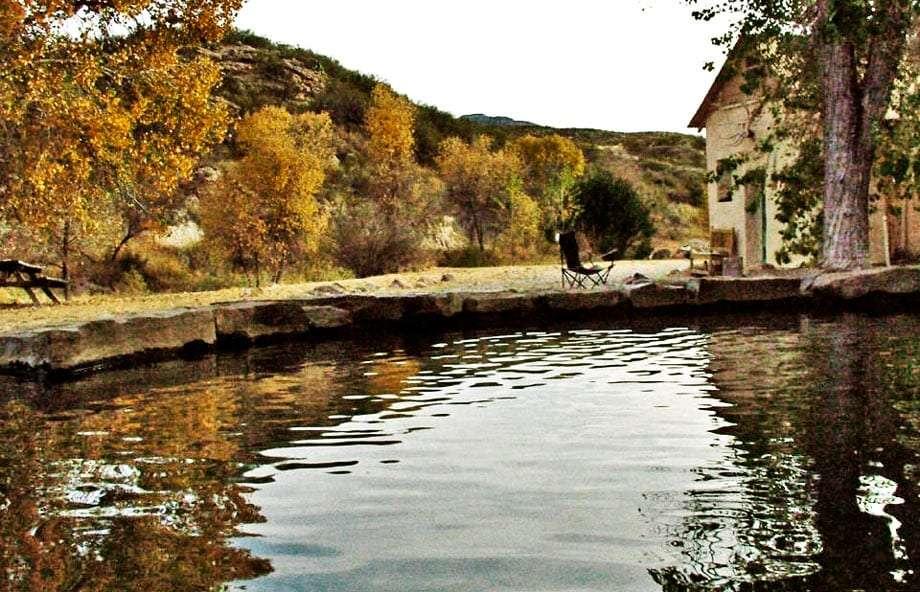 a pool of hot springs water
