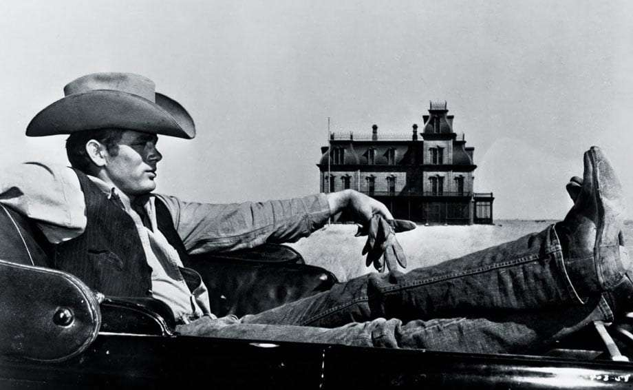 black and white photo of James Dean in the movie Giant