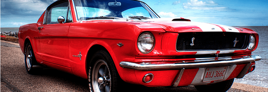a red ford mustang