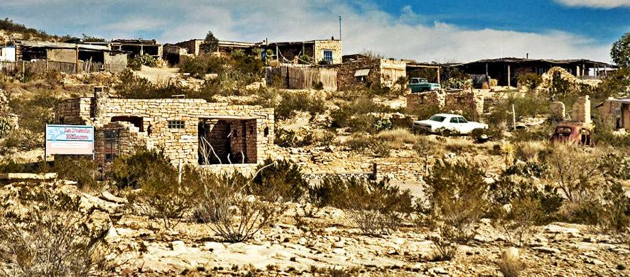 the ghost town of Terlingua sits on a hillside in the Texas desert