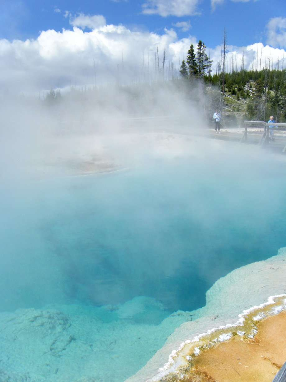 Vivid blue hot spring water, steam emanating from its liquid body, in Yellowstone National Park