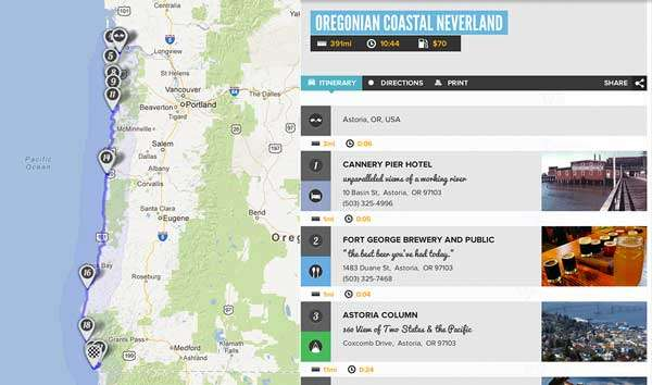 screenshot of the trip on Roadtrippers.com, displays a map of the journey down the coast and an abridged itinerary