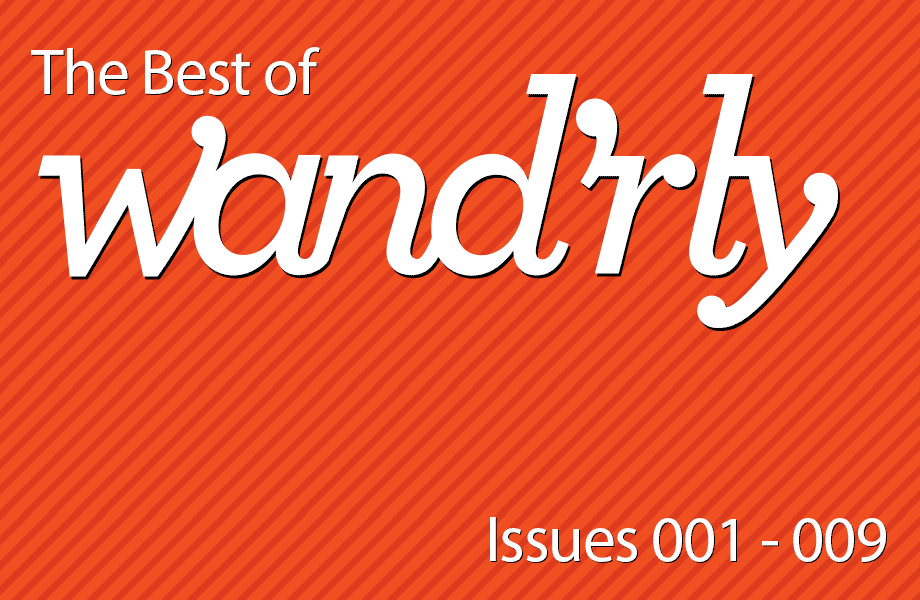 orange striped background with text reading The Best of Wand'rly Issues 001 - 009