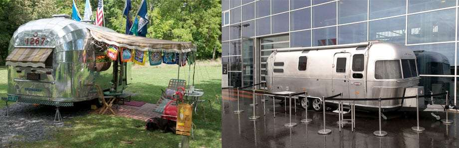 two photos, one of a vintage Airstream travel trailer, the other a modern variety