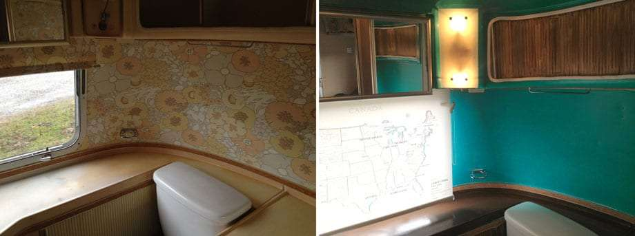 Left: 1970s floral wallpaper on tin. Right: I designed this custom map print shade of places we had been or still wanted to explore, and built the new custom light shade cover, putting the switch on the bottom instead of protruding through the shade itself. A little brown paint to pull it all together...