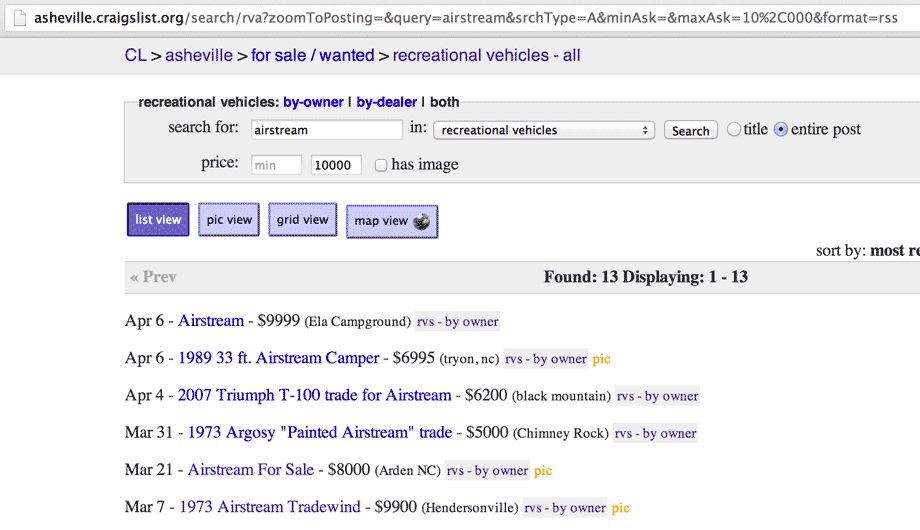 a screenshot of a Craigslist search for an Airstream travel trailer under $10,001