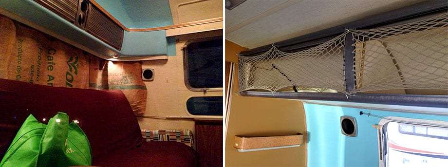 Left: we replaced the front curtains with burlap coffee sacks we found at a local fabric store, hung to the original curtain sliders via safety pins. Right: we replaced the pain-in-the-ass tambour doors with simple nets, and eventually baskets inside, which are infinitely easier to use.