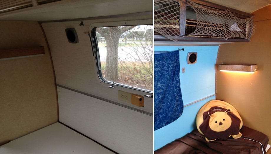 Left: another shot of the twin bedroom. Right: this just feels more like a home than a mobile hospital.