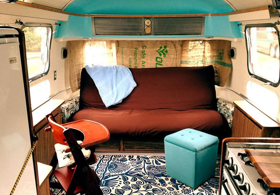 an 1970s Airstream interior renovated