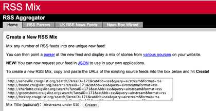a screenshot of RSSmix.com with various Craigslist search results RSS feed URLs entered