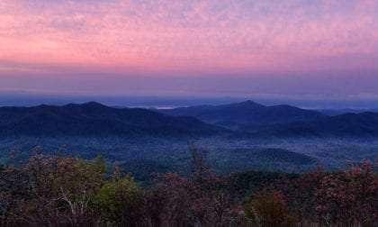 purple dresses the sky over the appalachian mountains