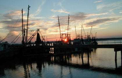 sunset over the docks near Beaufort, SC