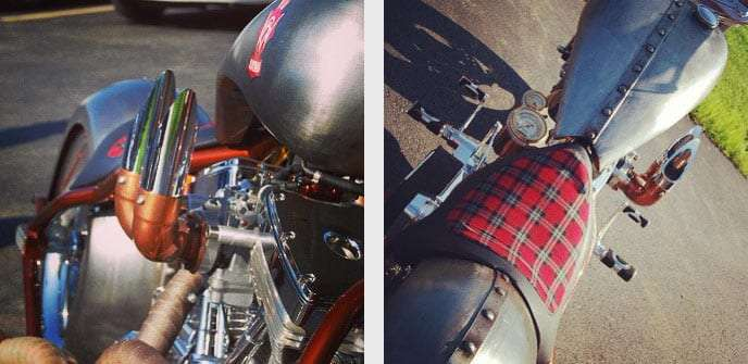 closeups of the bike, including the tartan seat and all around badass old school style of it