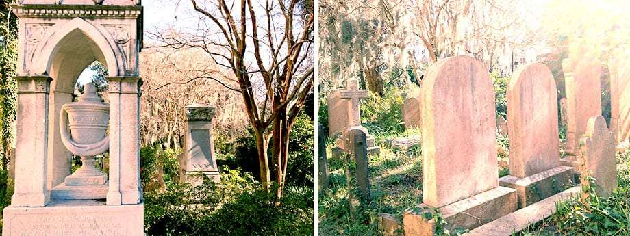 two photos, one of the entrance to a graveyard, another of stones within it